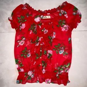 Red floral Hollister blouse